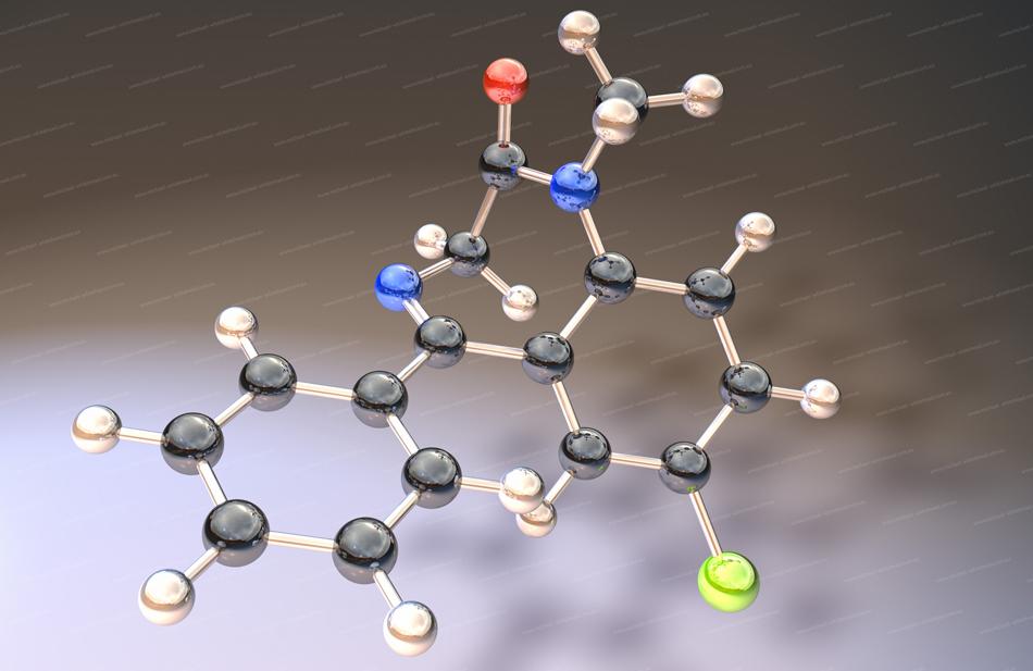 Diazepam molecule 3D