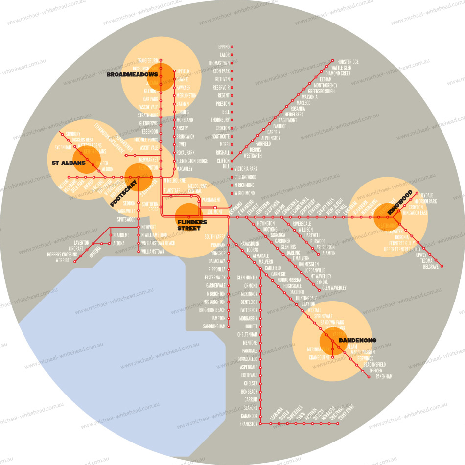 Map of Melbourne Train Network - Previously published example of Finished Art